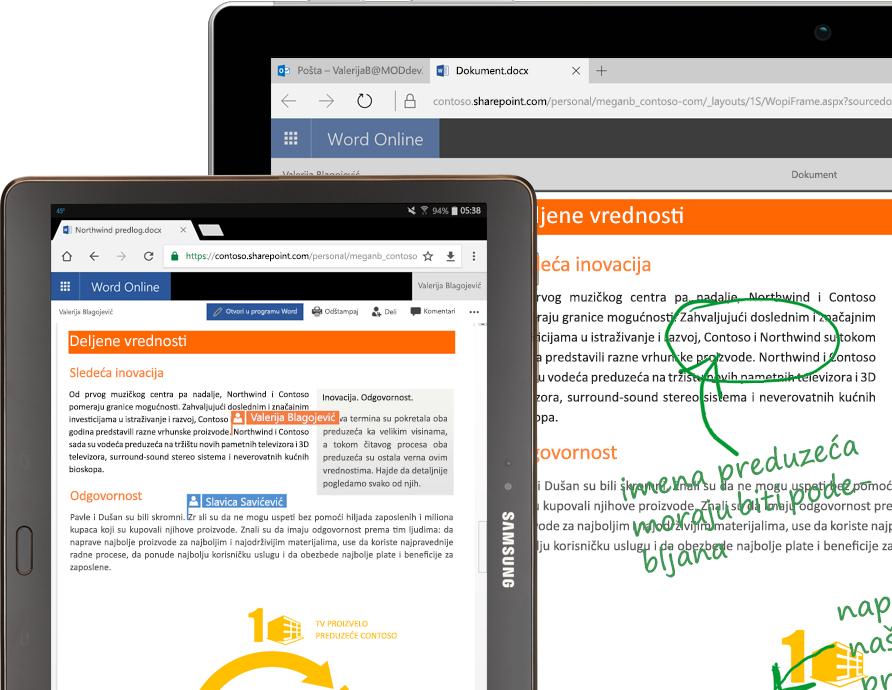 laptop i tablet na kojima se koristi Word na mreži