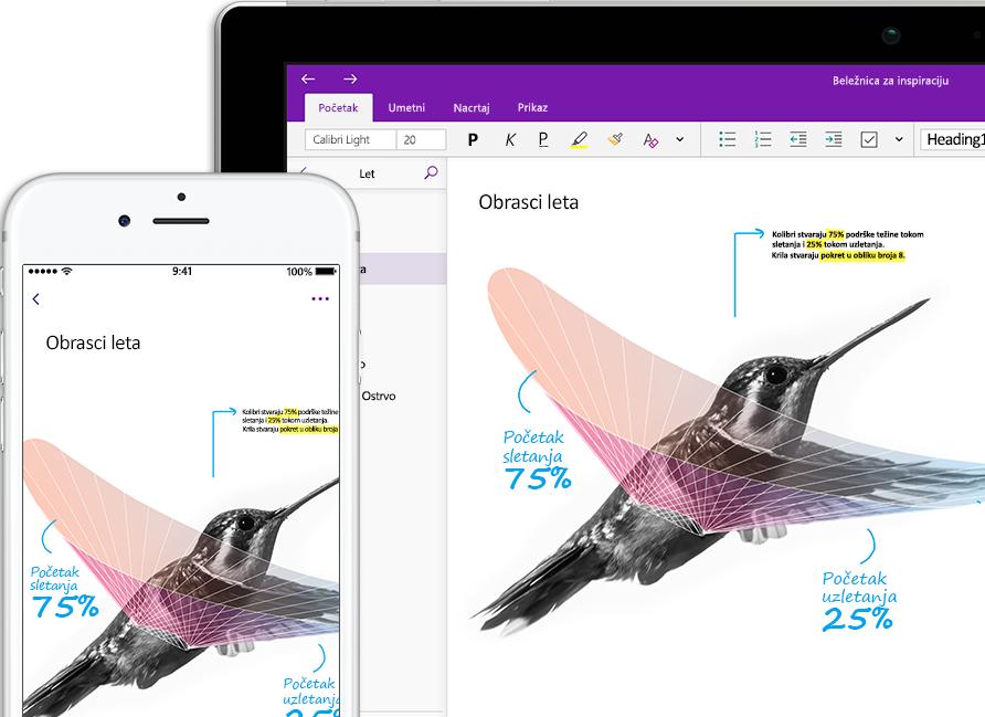 """OneNote beležnica koja se zove """"Inspiracija"""" i koja prikazuje kolibrija na pametnom telefonu i tabletu"""