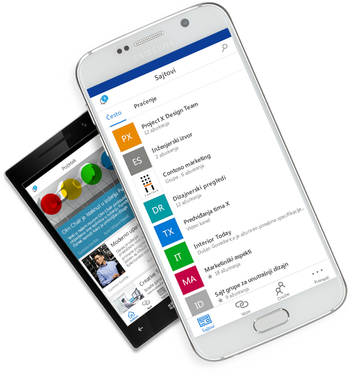 SharePoint aplikacija prikazana na mobilnim uređajima