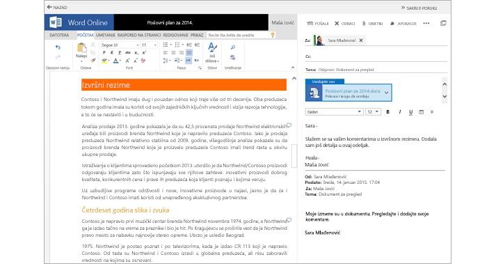 E-poruka prikazana pored okna za pregled priloga dokumenta pomoću usluge Word Online