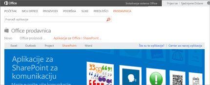 """Snimak ekrana stranice """"SharePoint aplikacije"""" u Office prodavnici."""