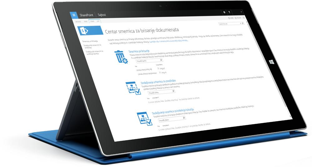 Surface tablet koji prikazuje SharePoint centar smernica za usaglašavanje; saznajte više o sistemu SharePoint Server 2016 na sajtu Microsoft TechNet