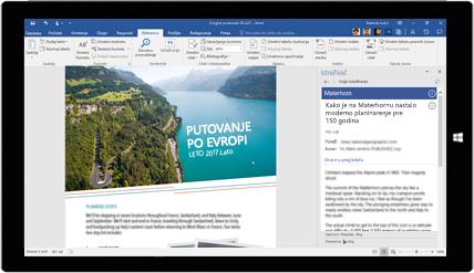 Ekran tableta na kom je prikazano kako se Word istraživač koristi u dokumentu o putovanju Evropom. Saznajte više o kreiranju dokumenata pomoću ugrađenih Office alatki