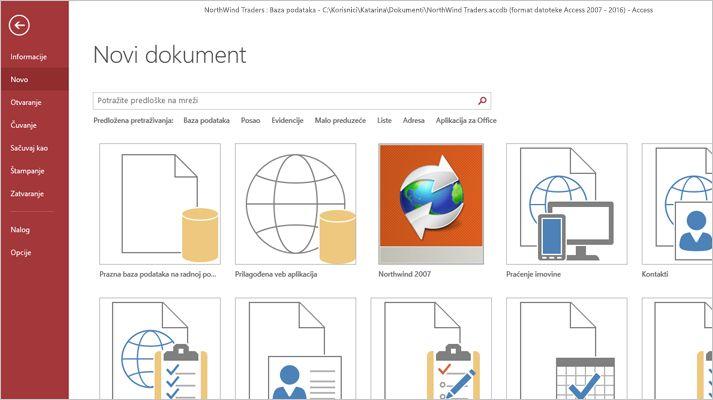 "Ekran ""Nova baza podataka"" u programu Microsoft Access"