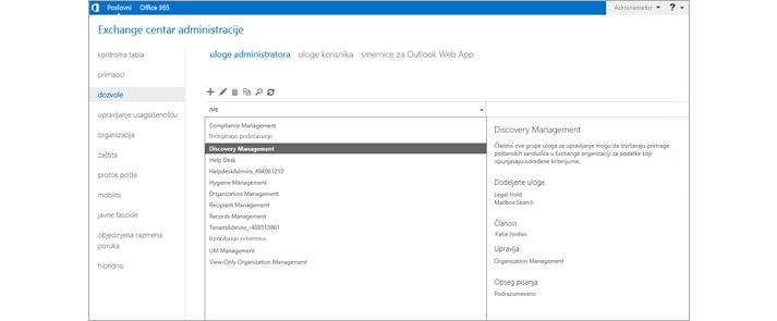 Stranica sa dozvolama u Exchange centru administracije, gde možete da upravljate ulogama administratora.