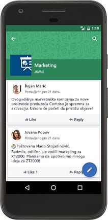 Android telefon koji prikazuje Yammer razgovor