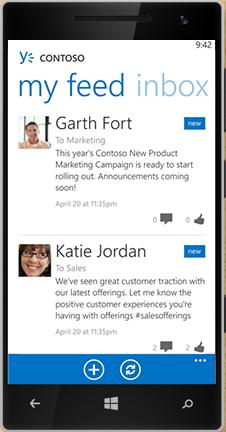 Windows Phone koji prikazuje Feed u usluzi Yammer