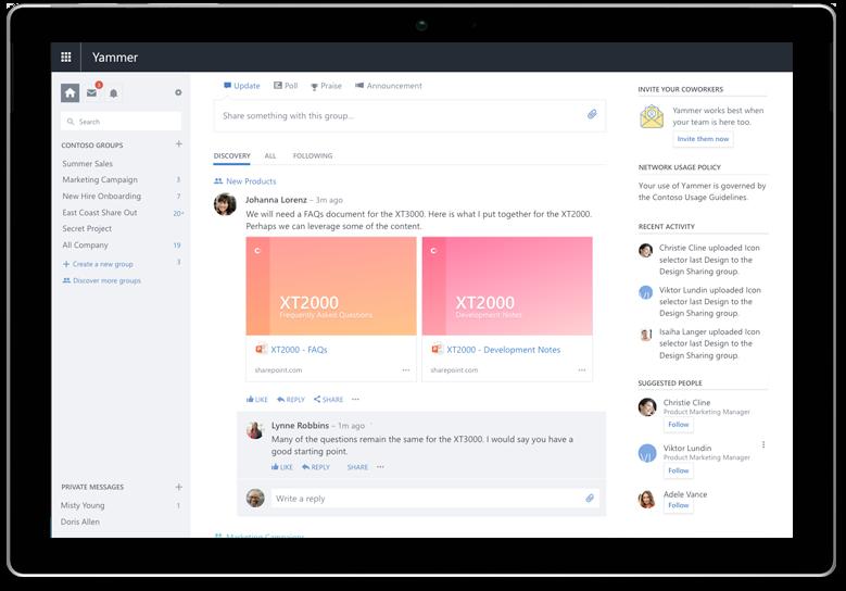 Surface tablet prikazuje Yammer feed za otkrivanje