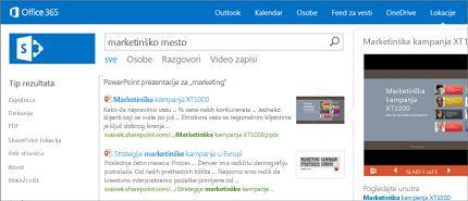 """Snimak ekrana stranice """"Osobe"""" u sistemu SharePoint, na kojoj lako možete da se povežete."""