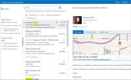 Krupni plan prijemnog poštanskog sandučeta korisnika u programu Outlook Web App koji koristi tehnologiju sistema Exchange.