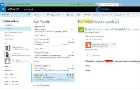 Krupni plan prijemnog poštanskog sandučeta korisnika u programu Outlook Web App.