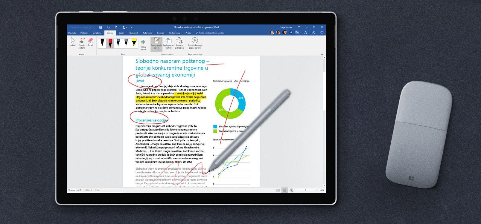 Ekran tableta koji prikazuje redigovanje perom