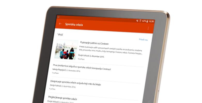 Razgovor SharePoint grupe na tabletu