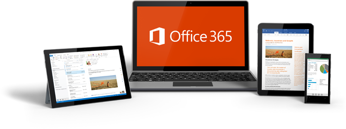 Windows tablet, laptop, iPad i pametni telefon prikazuju Office 365 u upotrebi.