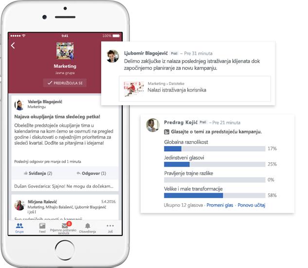Mobilni telefon koji prikazuje razgovore, ankete i deljenje datoteka u Yammer grupama