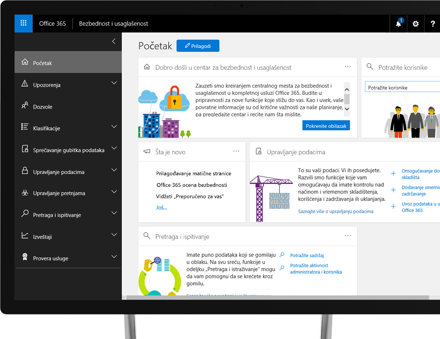 Office 365 centar za bezbednost i usaglašenost na monitoru Windows računara