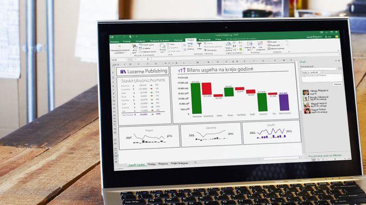 Laptop koji prikazuje preraspoređenu Excel unakrsnu tabelu sa automatski popunjenim podacima.