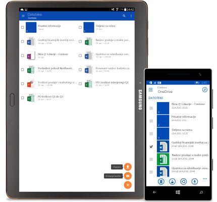 Tablet i pametni telefon koji prikazuju spisak deljenih dokumenata.