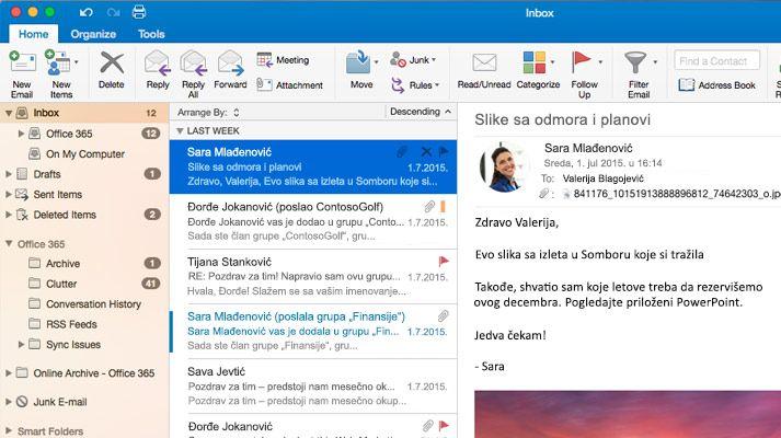 Snimak ekrana Microsoft Outlook 2016 prijemnog poštanskog sandučeta sa listom i pregledom poruka.
