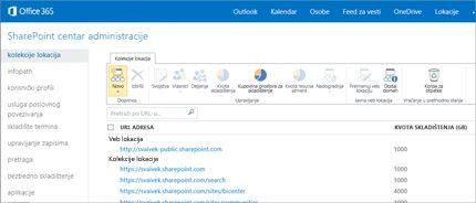 Snimak ekrana SharePoint centra administracije u kom lako možete da upravljate lokacijama i korisnicima.