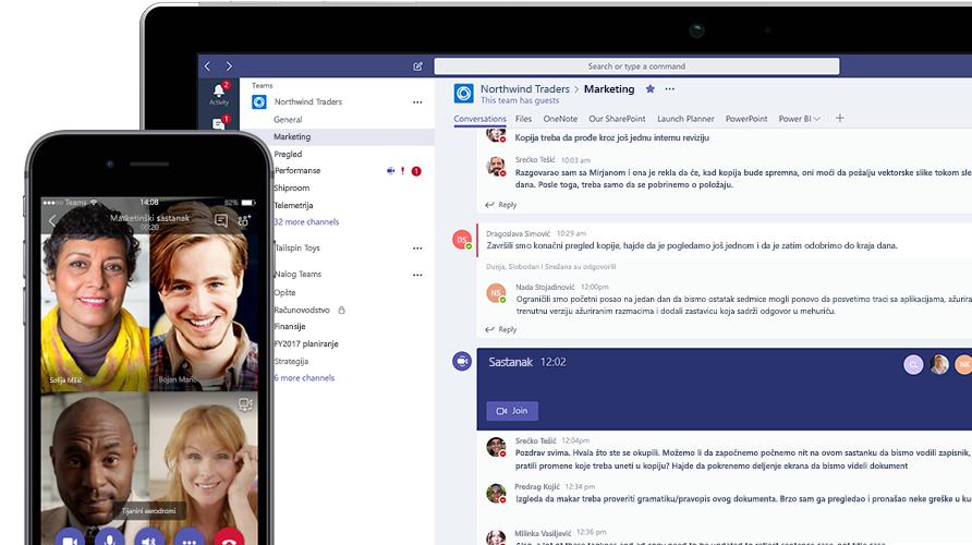 Microsoft Teams poziv prikazan na mobilnom telefonu i tabletu