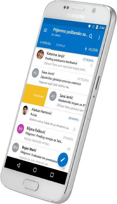 Pametni telefon koji prikazuje Outlook prijemno sanduče