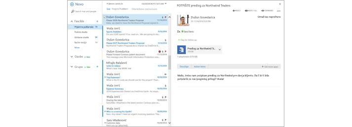 Prijemno sanduče e-pošte na mobilnom uređaju sa novom porukom koja se pojavljuje u oknu za pregled