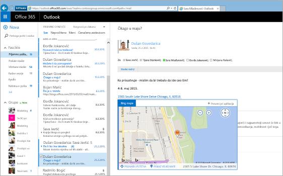 Krupni plan prijemnog poštanskog sandučeta korisnika u programu Outlook na vebu koji koristi tehnologiju sistema Exchange.