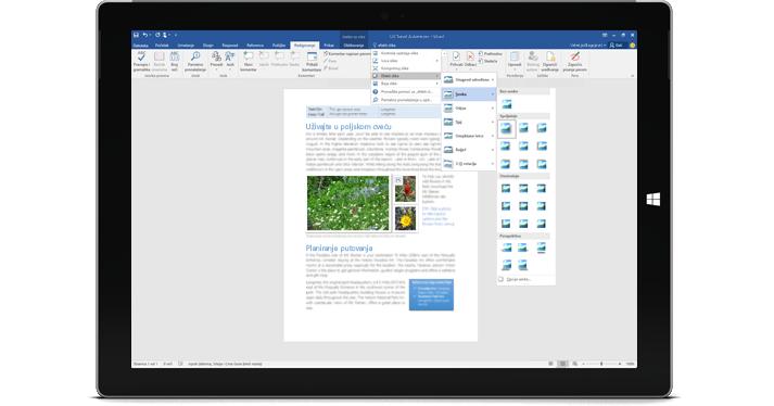 """Surface koji prikazuje novu funkciju """"Recite mi..."""" u Word dokumentu."""