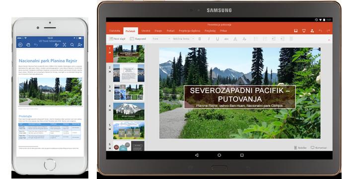 Telefon koji prikazuje Word dokument koji se uređuje i tablet koji prikazuje PowerPoint slajdove koji se uređuju.