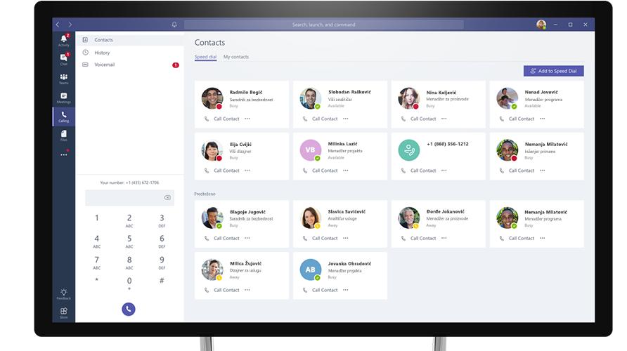 Pozivanje u usluzi Microsoft Teams prikazano na računaru
