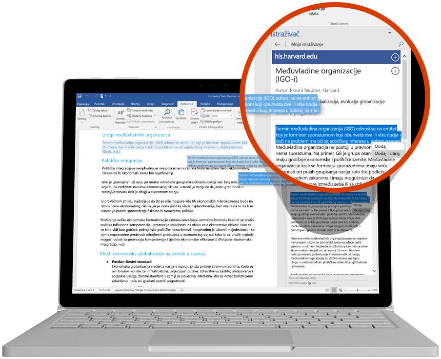 Laptop koji prikazuje korišćenje istraživača u Word dokumentu