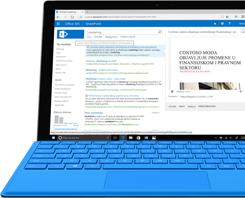 Surface laptop koji prikazuje pretraživanje intraneta čitavog teksta koje omogućava SharePoint