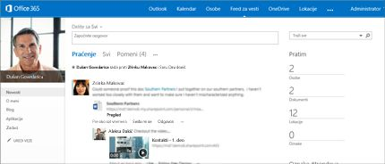 """Snimak ekrana SharePoint feeda za vesti sa vidljivom opcijom """"Deli sa svima""""."""