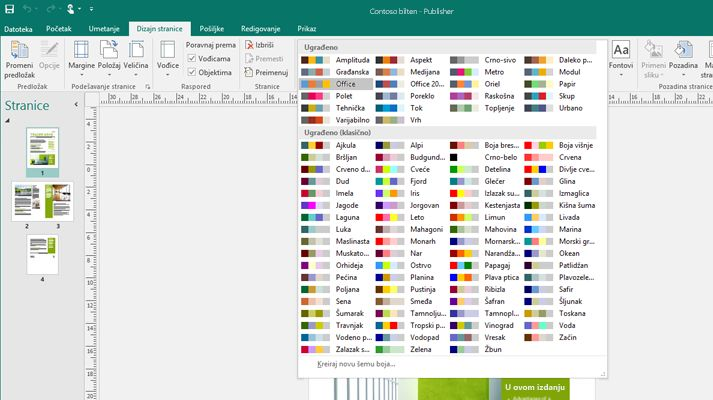 Publikacija u programu Publisher sa trakom na kojoj su prikazane alatke za slike.