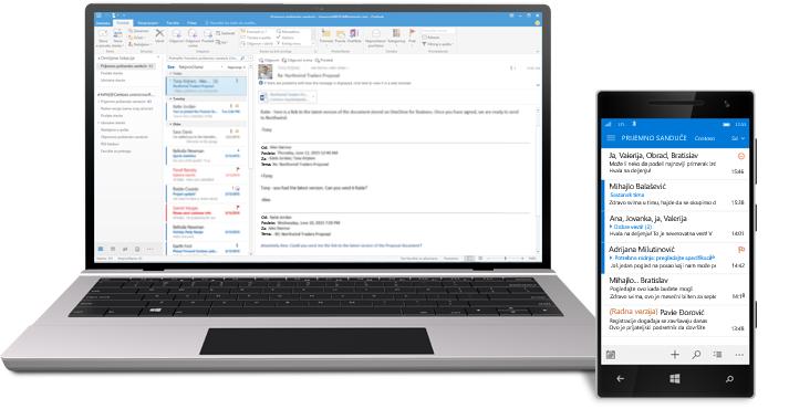 Tablet i pametni telefon na kojima je prikazano prijemno poštansko sanduče u usluzi Office 365.