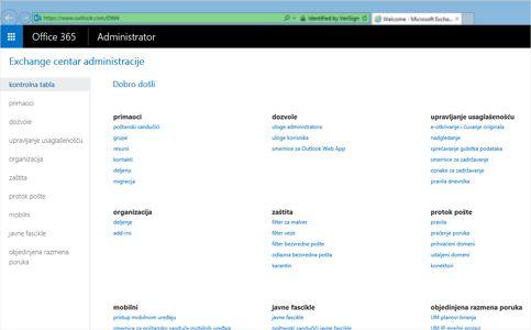 """Krupni plan stranice """"Pregled rezultata"""" za pretragu u sistemu Exchange Online."""