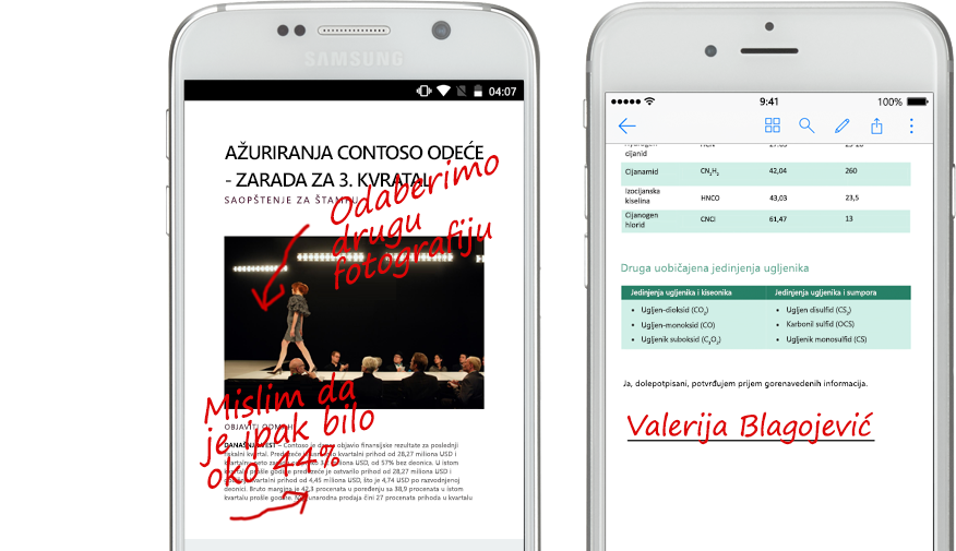 dva pametna telefona prikazuju dokumente i rukom napisane beleške o njima
