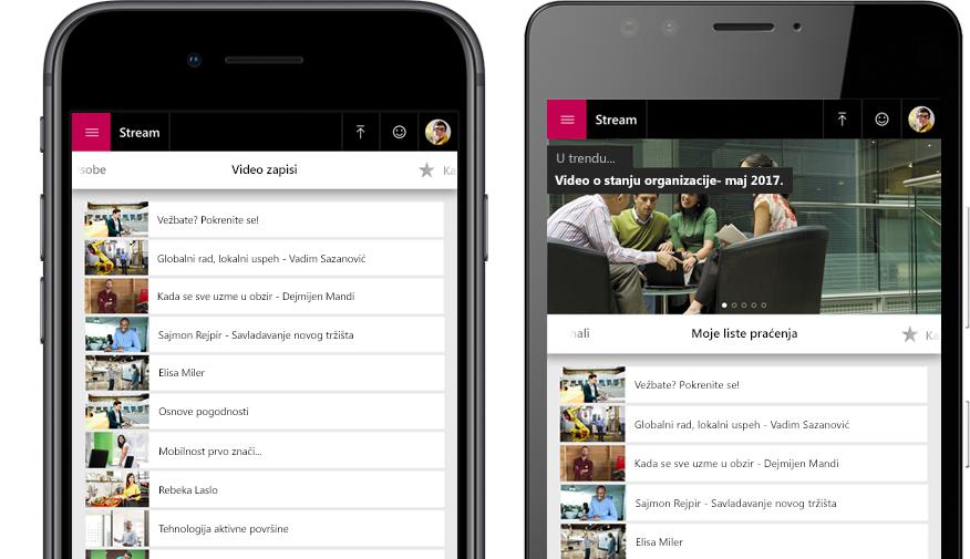 """Dva pametna telefona, jedan sa listom Stream video zapisa, a drugi sa menijem """"Moja lista gledanja"""" sa video zapisima u aplikaciji Stream"""