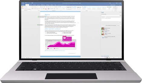 Zajednički rad je upravo postao lakši: laptop sa Word dokumentom na ekranu koji prikazuje koautorstvo u toku.