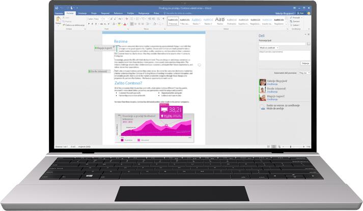 Laptop sa Word dokumentom na ekranu koji prikazuje koautorstvo u toku.