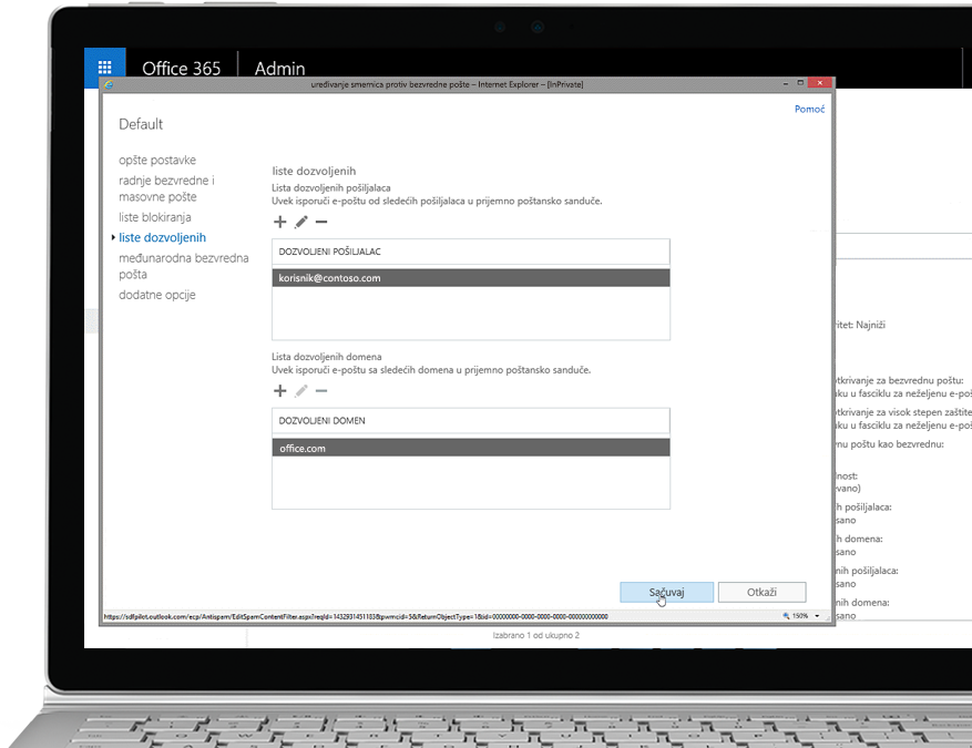 Tablet na kom je prikazano uređivanje smernice za borbu protiv bezvredne pošte u Office 365 administratorskoj konzoli uz dozvoljenog pošiljaoca i domen