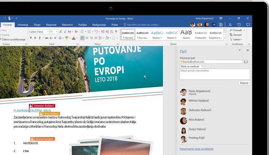 Funkcionalnost deljenja u programu Word prikazana na laptopu
