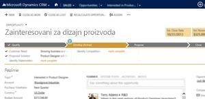 Slika stranice sa mogućnostima prodaje u usluzi Microsoft Dynamics CRM Online.