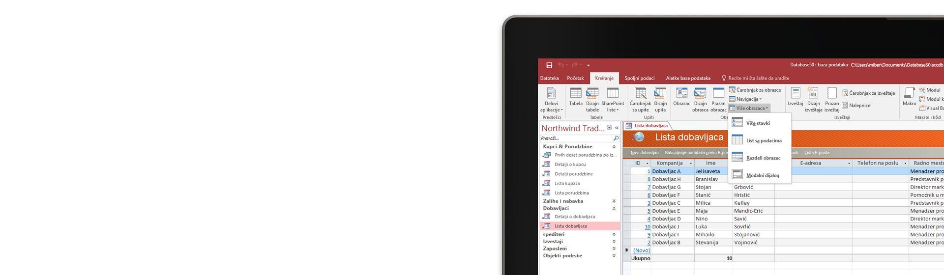 Deo ekrana računara koji prikazuje listu dobavljača u bazi podataka u programu Microsoft Access.