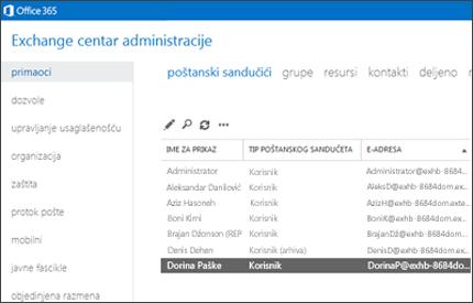 Krupni plan stranice u Exchange centru administracije na kojoj upravljate sistemom e-pošte.