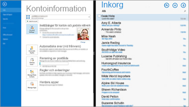 En skärmbild av sidan med information om e-postkontot och meddelandelistan i Office 365.