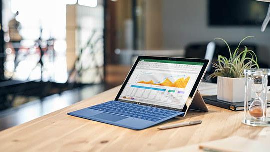 Surface visar diagram, registrera er för webinars.
