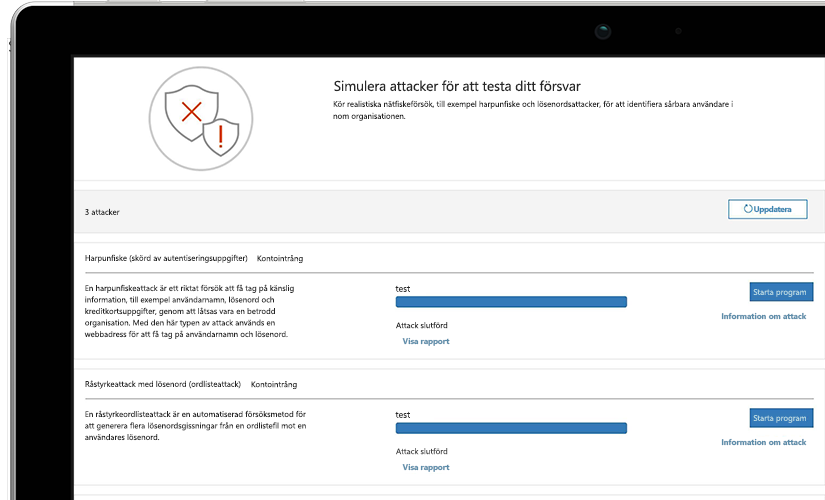 Närbild på en sida med attacksimulering på en bärbar dator som visar information om pågående test