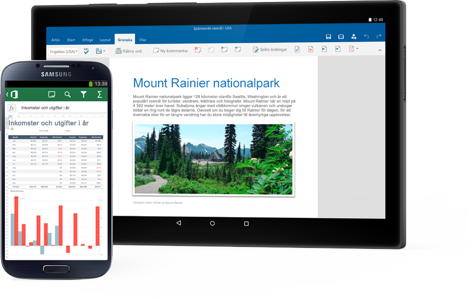 En telefon med ett Excel-diagram och en surfplatta med ett Word-dokument om Mount Rainier National Park